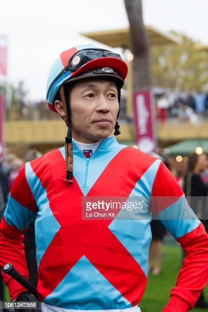 Jockey Yutaka Take at the paddock during the Race 4 Qatar Prix de l'Arc de Triomphe at ParisLongchamp racecourse on October 7 2018 in Paris France