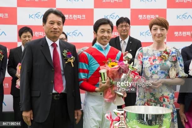 Jockey Yutaka Take at the trophy presentation ceremony after Graceful Leap winning The Keeneland Korea Sprint at Seoul Racecourse on September 10...