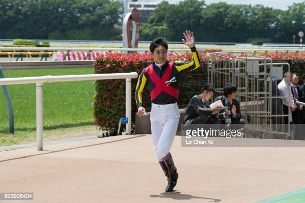 Jockey Yutaka Take attends the Tokyo Yushun Japanese Derby opening ceremony at Tokyo Racecourse during Japanese Derby Race Day on May 28 2017 in...