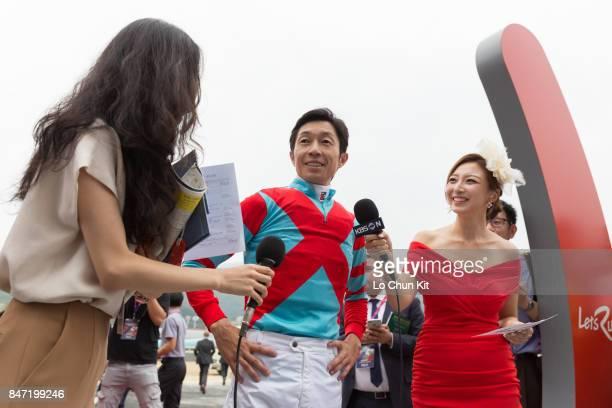 Jockey Yutaka Take interviewed by the media after Japanese runner Graceful Leap winning The Keeneland Korea Sprint at Seoul Racecourse on September...