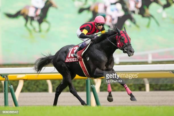 Jockey Yutaka Take riding A Shin Hikari wins the Mainichi Okan at Tokyo Racecourse on October 11 2015 in Tokyo Japan