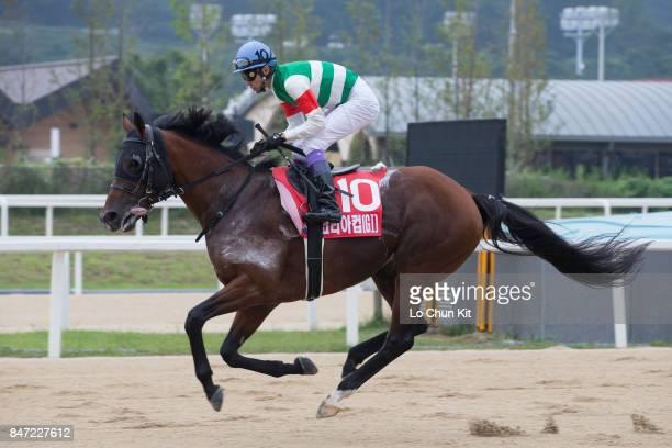Jockey Yutaka Take riding Chrysolite during The Keeneland Korea Cup at Seoul Racecourse on September 10 2017 in Seoul South Korea