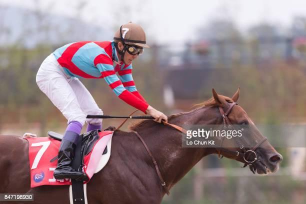 Jockey Yutaka Take riding Japanese runner Graceful Leap wins The Keeneland Korea Sprint at Seoul Racecourse on September 10 2017 in Seoul South Korea