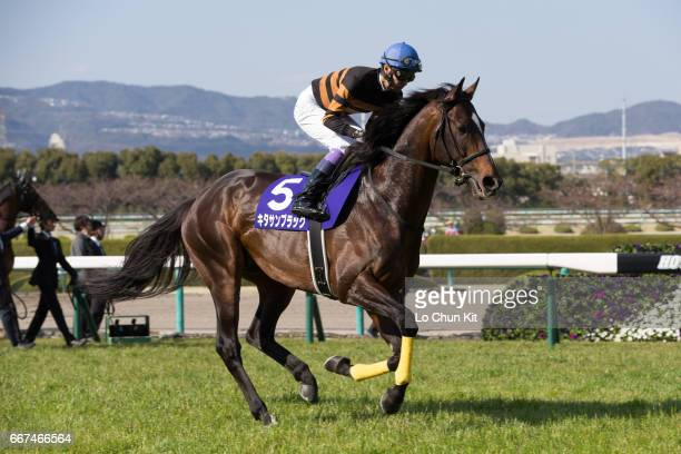Jockey Yutaka Take riding Kitasan Black during the Osaka Hai at Hanshin Racecourse on April 2 2017 in Takarazuka Japan Osaka Hai upgraded to G1 this...