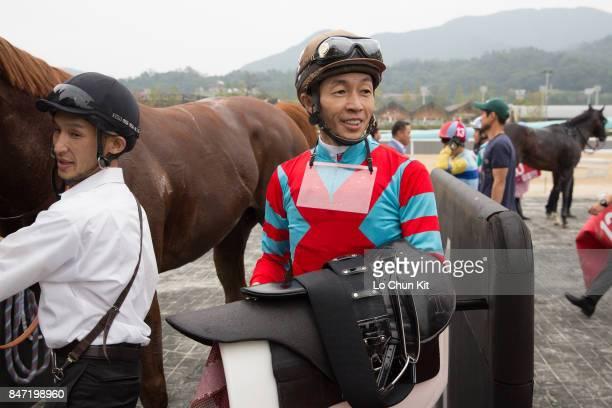 Jockey Yutaka Take with Japanese runner Graceful Leap wins The Keeneland Korea Sprint at Seoul Racecourse on September 10 2017 in Seoul South Korea