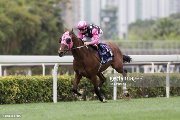 Jockey Zac Purton riding Beauty Generation wins Race 6 The Queen's Silver Jubilee Cup at Sha Tin racecourse on February 17, 2019 in Hong Kong. Beauty...