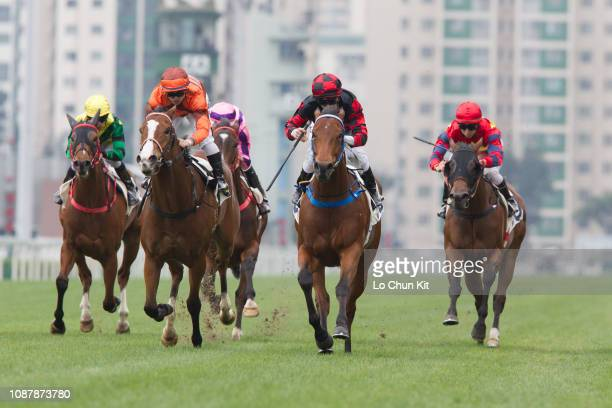 Jockey Zac Purton riding Dancing Fighter wins Race 7 Lee On Handicap at Sha Tin racecourse on December 29, 2018 in Hong Kong. Hong Kong celebrity...