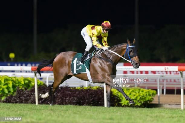 Jockey Zac Purton riding Hong Kong runner Southern Legend wins Race 9 Kranji Mile at Kranji Racecourse on May 25 2019 in Singapore