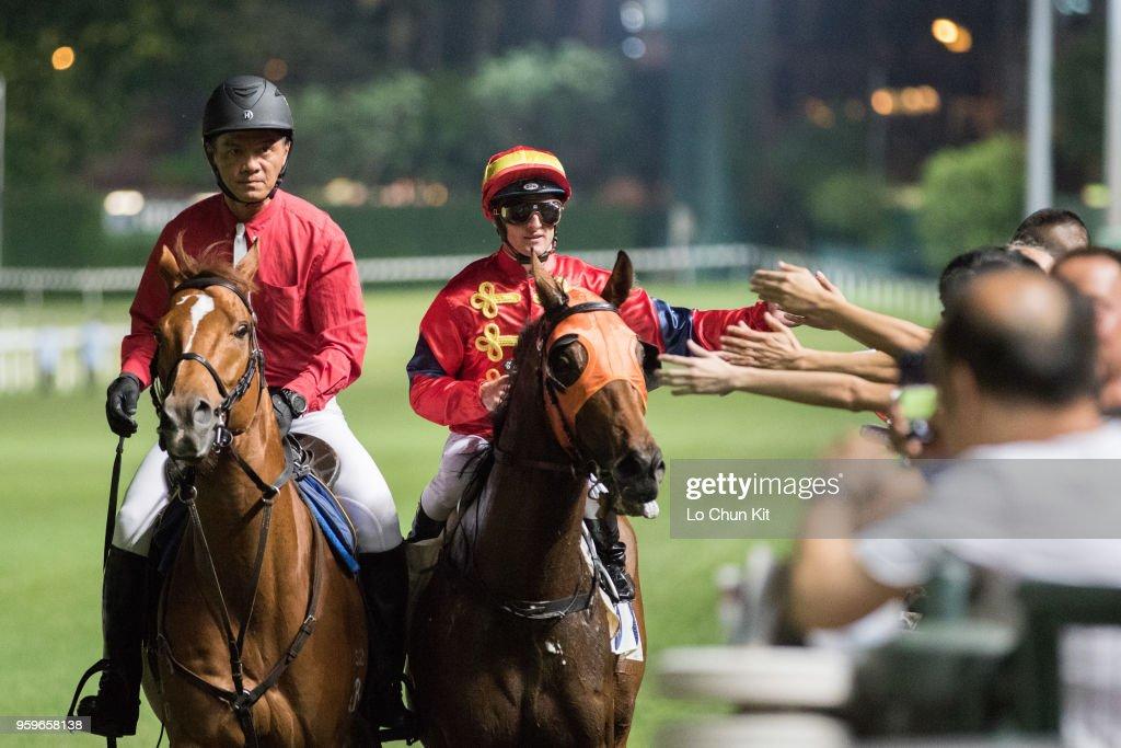 Jockey Zac Purton riding Starlit Knight wins the Race 1 Cornwall Handicap at Happy Valley Racecourse on May 16, 2018 in Hong Kong, Hong Kong.
