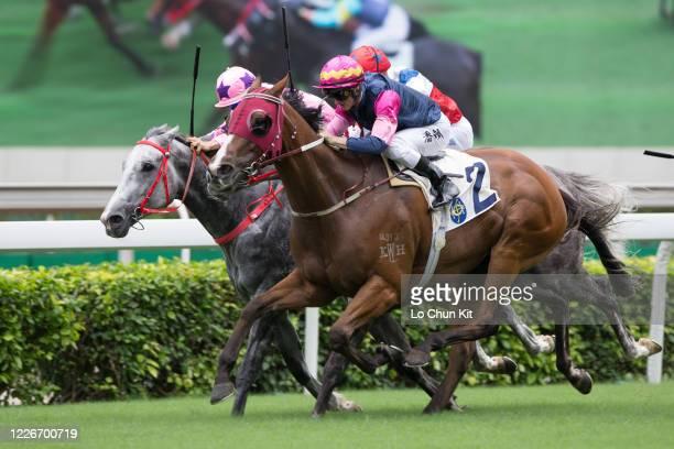 Jockey Zac Purton riding Thanks Forever wins the Race 4 Sha Tin Vase at Sha Tin Racecourse on May 24 2020 in Hong Kong