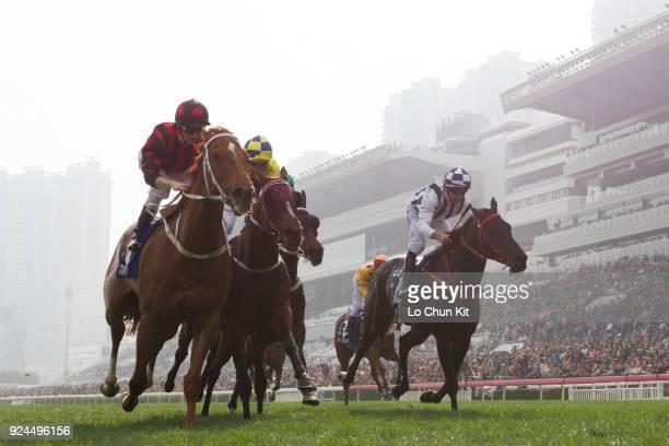 Jockey Zac Purton riding Time Warp wins Race 8 The Citi Hong Kong Gold Cup at Sha Tin racecourse on February 25 2018 in Hong Kong Hong Kong Time Warp...