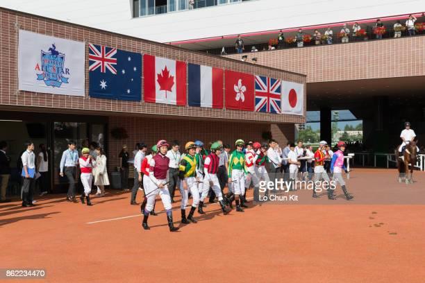 Jockeys are at the paddock prior to the 2017 World AllStar Jockeys 2nd Leg at the Sapporo Racecourse on August 26 2017 in Sapporo Hokkaido Japan The...