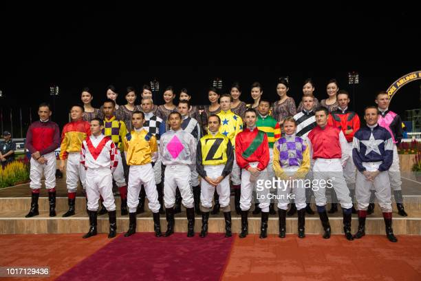 Jockeys at the opening ceremony of Singapore Airlines International Cup Race Day at Kranji Racecourse on May 18 2014 in Singapore