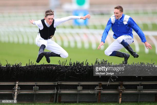 Jockeys Ben Allen and Michael Dee jump over the last hurdle after Eliza's Viscount won E Cycle Solutions Maiden Hurdle at Racingcom Park Racecourse...
