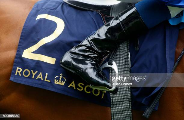 A jockeys boot and a saddle cloth before The Diamond Jubilee Stakes Race run on the Fifth Day of Royal Ascot at Ascot Racecourse on June 24 2017 in...