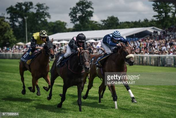 Jockeys compete during the 169th Prix de Diane horse racing on June 17 2018 in Chantilly northern Paris