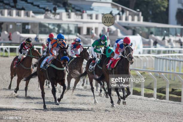 Jockeys compete during the fifth race of the competition day as Uruguay slowly returns to normal due to coronavirus outbreak at Maroñas Horse Track...