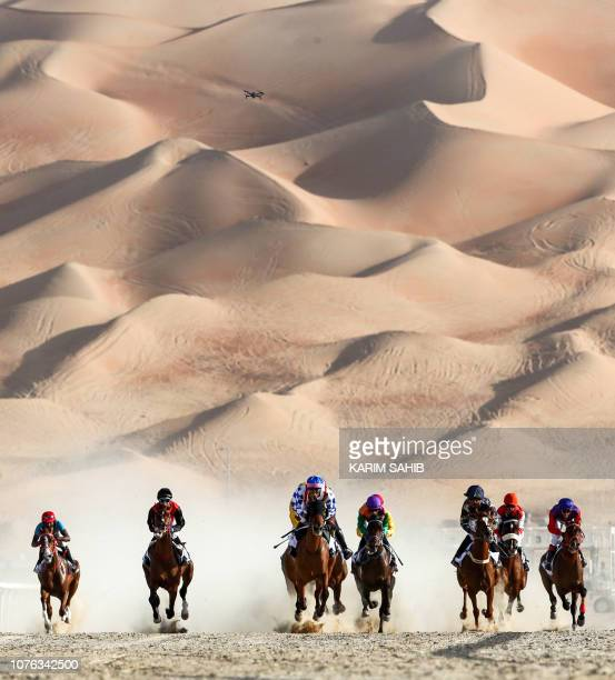 Jockeys compete in a race for purebred Arab horses during the Liwa 2019 Moreeb Dune Festival in the Liwa desert some 250 kilometres west of the Gulf...