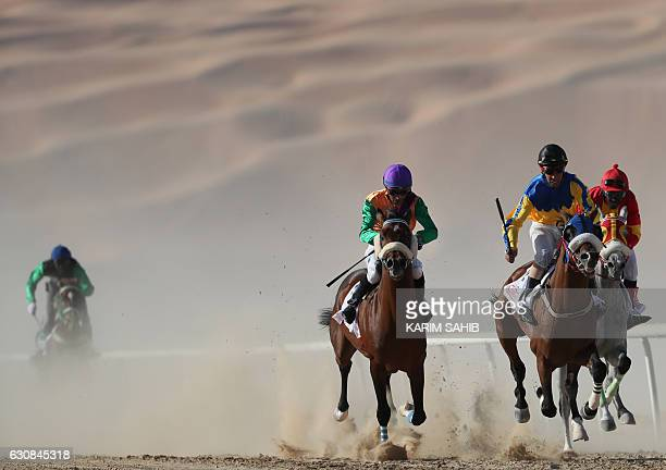Jockeys compete in a race for purebred Arab horses during the Liwa 2017 Moreeb Dune Festival on January 3 in the Liwa desert some 250 kilometres west...