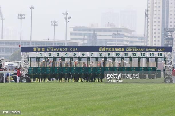 Jockeys compete the Race 1 Helene Paragon Handicap at Sha Tin Racecourse on January 19 2020 in Hong Kong