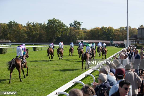 Jockeys compete the Race 4 Charles Laffitte Listed Stakes at Compiegne racecourse on October 8, 2018 in Compiegne, France.