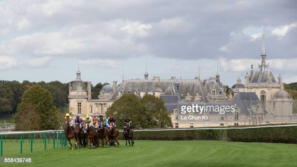 Jockeys compete the Race 5 Haras de Bouquetot - Criterium de la Vente d'Octobre d'Arqana during the Qatar Prix de l'Arc de Triomphe weekend at...