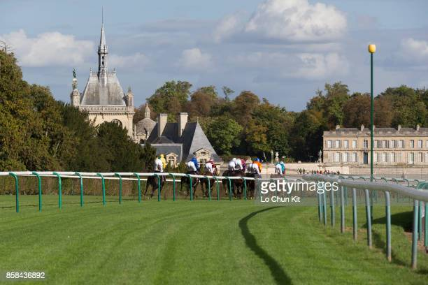 Jockeys compete the Race 6 Qatar Prix Dollar during the Qatar Prix de l'Arc de Triomphe weekend at Chantilly Racecourse on September 30, 2017 in...