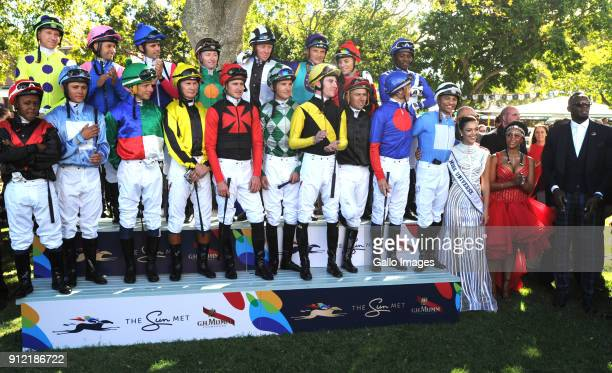 Jockeys for the main race during the 2018 Sun Met at Kenilworth Racecourse on January 27 2018 in Cape Town South Africa The 134th edition of the Sun...