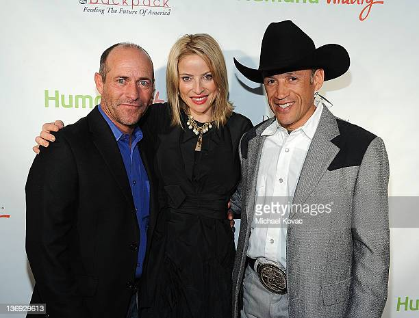 Jockeys Gary Stevens Chantal Sutherland and David R Flores attend the Derby Prelude Party at The London Hotel on January 12 2012 in West Hollywood...