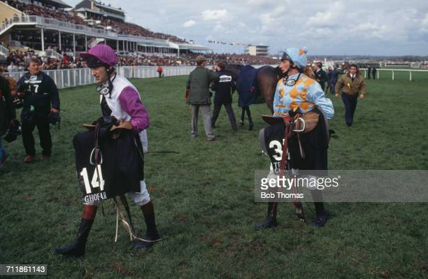 Jockeys Hywel Davies and Ben de Haan at the Grand National at Aintree Racecourse Liverpool 4th April 1992 They rode Ghofar and Team Challenge...