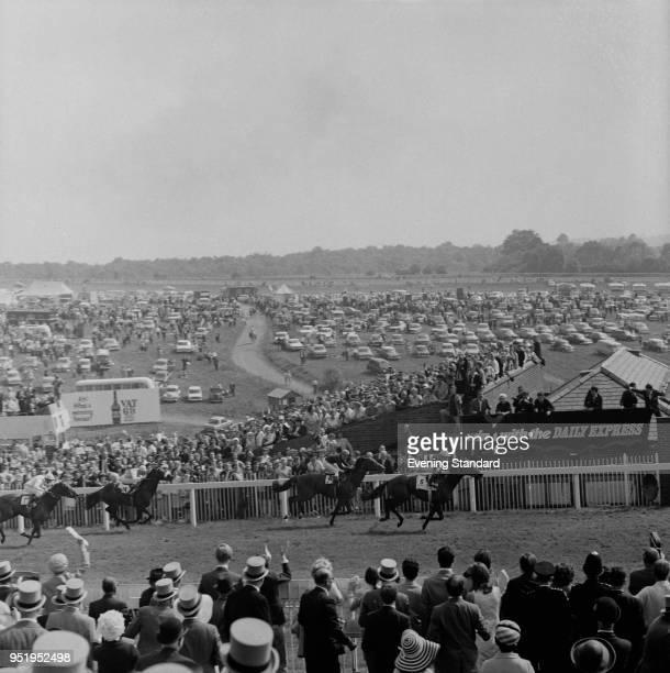Jockeys in action at Epsom Derby at Epsom Downs Racecourse, UK, 4th June 1968.