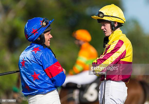 jockeys in the parade ring - racehorse stock pictures, royalty-free photos & images