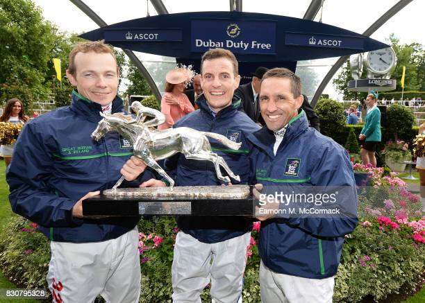 Jockeys Jamie Spencer Fran Berry and Neil Callan of the Great Britain Ireland team at The Dubai Duty Free Shergar Cup Ascot Racecourse on August 12...