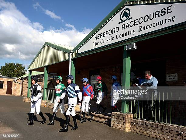 Jockeys leave the weighing room for the first race at Hereford racecourse on October 6 2016 in Hereford England Hereford today sees a return to jump...