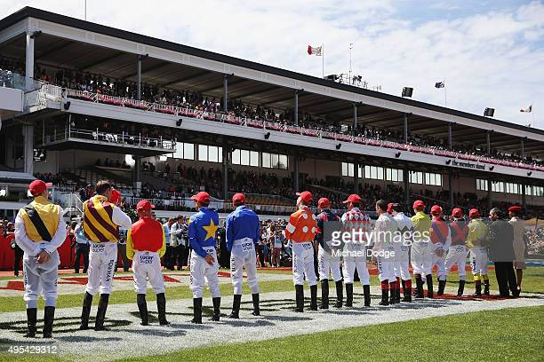 Jockeys line up before race 7 the Emirates Melbourne Cup on Melbourne Cup Day at Flemington Racecourse on November 3 2015 in Melbourne Australia