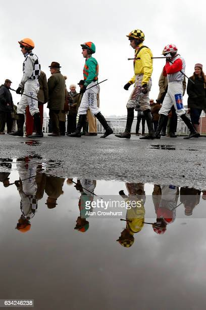 Jockeys make their way to the parade ring at Ludlow racecourse on February 8 2017 in Ludlow England