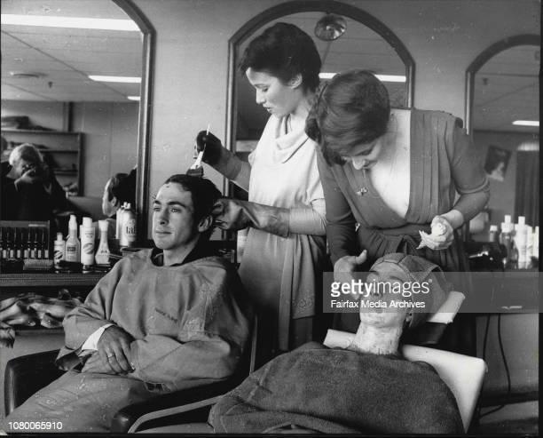 Jockeys Neil Crothers amp Bill Sorensen receive beauty treatment from a Burwood HairdressersGirls are 1 to r Sue Guidea amp Jennie Sadler August 13...