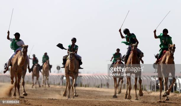 Jockeys race during the Sheikh Sultan Bin Zayed alNahyan camel festival at the Shweihan racecourse in alAin on the outskirts of Abu Dhabi on February...