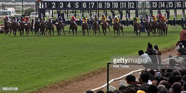 Jockeys race their horses during the Kingfisher Derby 2009 at the Bangalore Turf Club in Bangalore on July 12 2009 Indian jockey C Alford on Aboline...