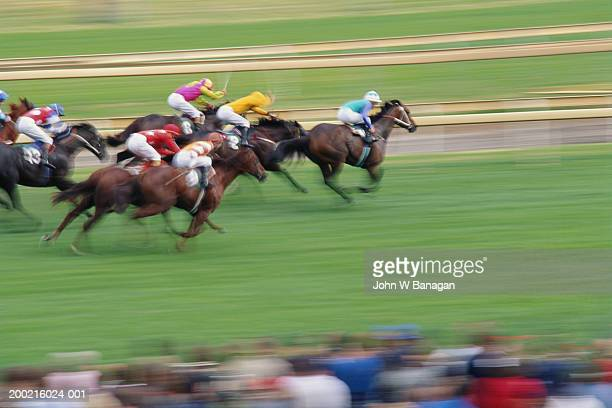 jockeys racing horses on race track (blurred motion) - horse racing stock pictures, royalty-free photos & images