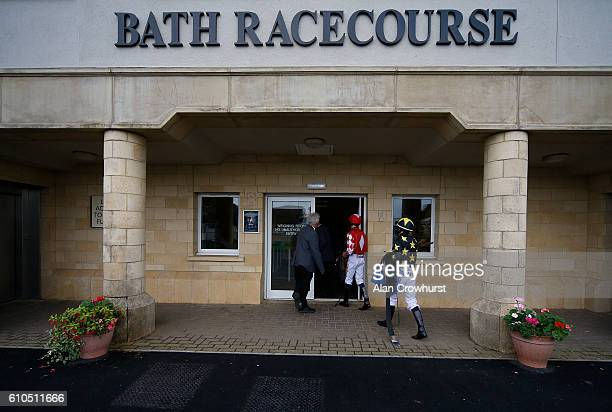 Jockeys return to the weighing room after riding at Bath Racecourse on September 26 2016 in Bath England