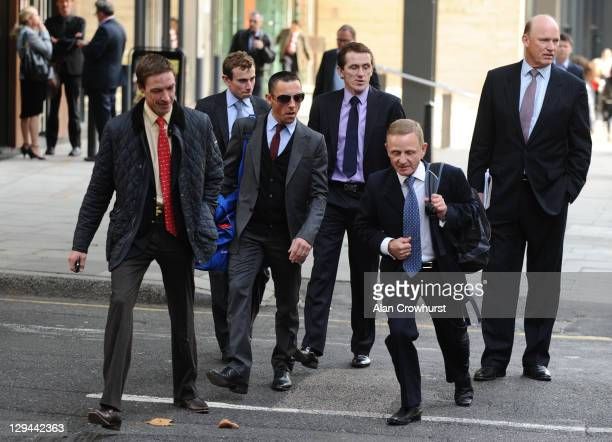 R jockeys Richard Hughes Ryan Moore Frankie Dettori Tony McCoy with Professional Jockeys Association Director Kevin Darley and trainer John Gosden...