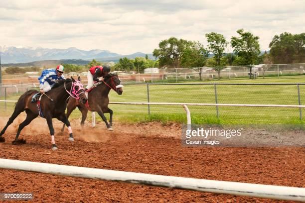 jockeys riding horses at competition - pferderennen stock-fotos und bilder