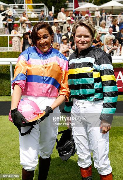 Jockeys Shadi Halliwell and Dido Harding on day three of the Qatar Goodwood Festival at Goodwood Racecourse on July 30 2015 in Chichester England