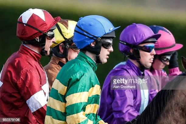 Jockeys silks at Cheltenham racecourse on St Patrick's Thursday on March 15 2018 in Cheltenham England