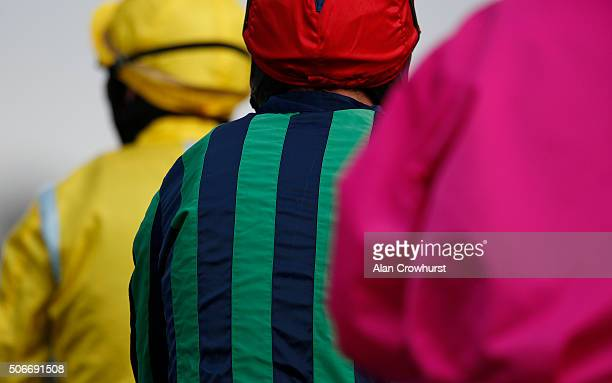 Jockeys' silks at Kempton Park racecourse on January 25 2016 in Sunbury England