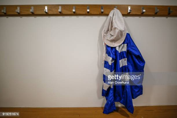 Jockeys silks in the changing room at Ascot Racecourse on February 17 2018 in Ascot England