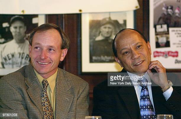 Jockeys Steve Cauthen and Jorge Velasquez share a table at Gallagher's Steak House for a luncheon marking the 25th anniversary of the Triple Crown...