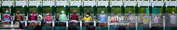 Jockeys wait for the stalls to open in The Cruise Nightspot Handicap Stakes at Chester racecourse on May 10 2013 in Chester England