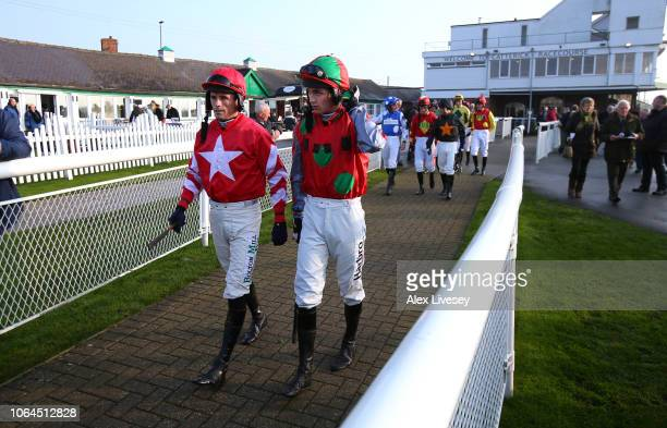 Jockeys walk out for the Jump Season Starts Now Novices' Hurdle Race at Catterick Racecourse on November 23 2018 in Catterick England